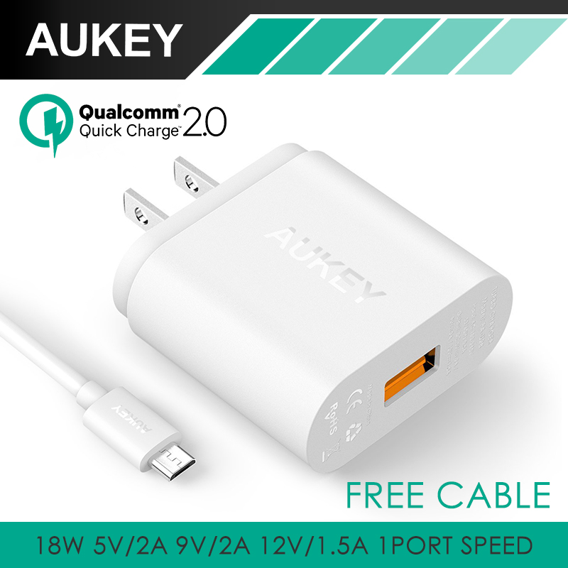 Qualcomm Certified font b Aukey b font Quick Charge 2 0 18W USB Turbo Wall