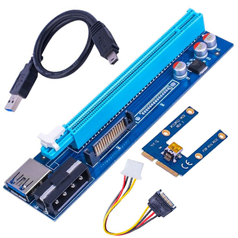 100 Sets/Lot PCIe PCI-E Riser Card 1X to 16X USB 3.0 Cable Extender Graphic Card Adapter Molex Power Cable for Laptop mining original for hp 432747 001 431834 001 high quality ati x1300 x1500 256m 128bit pci e video graphic card with dms 59 cable