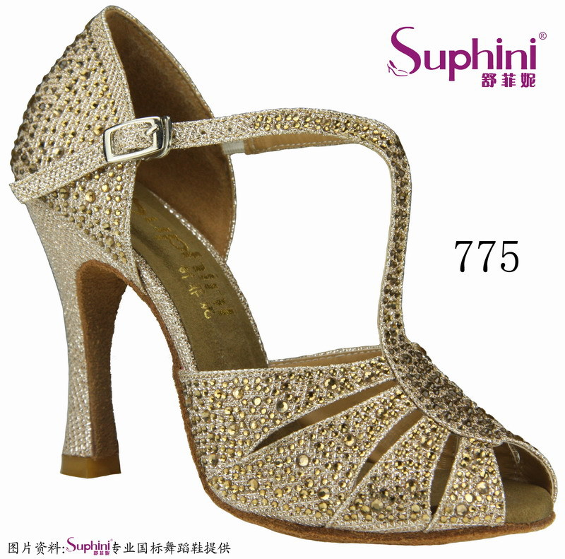 Special Offer Free Shipping  2017 Suphini Full Crystal Latin Ballroom Dance Shoes Salsa Dance Shoes  775 ld69 1110 ladies ballroom latin dance shoes crystal diamond dance shoes fast shipping worldwide