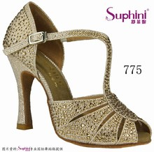 Speical Offer Free Shipping  2017 Suphini Full Crystal Latin Ballroom Dance Shoes Salsa Dance Shoes  775