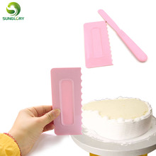 2PCS Plastic Cake Decorating Tools Fondant Decor Spatulas Pastry Icing Comb Set DIY Scraper Smoother Baking For Cakes