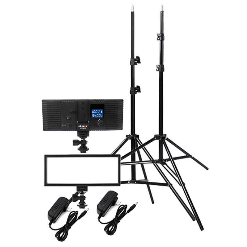 Viltrox 2x L132T 3300 5600K Mini LED Video Fill Light Panel AC Adapter 2m Stand Lighting