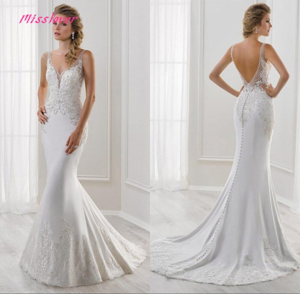 Vestido De Noiva Lace Mermaid Wedding Dresses 2019 New Bridal Gown Bride Dress Court Train Robe De Mariee Simlple Sexy Backless