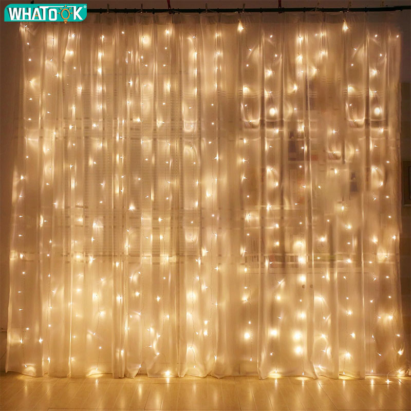 3mx3m LED String Lights Curtain Icicle Garland Christmas Indoor Outdoor Fairy Wedding Lighting Home Party Garden Decor 220V EU