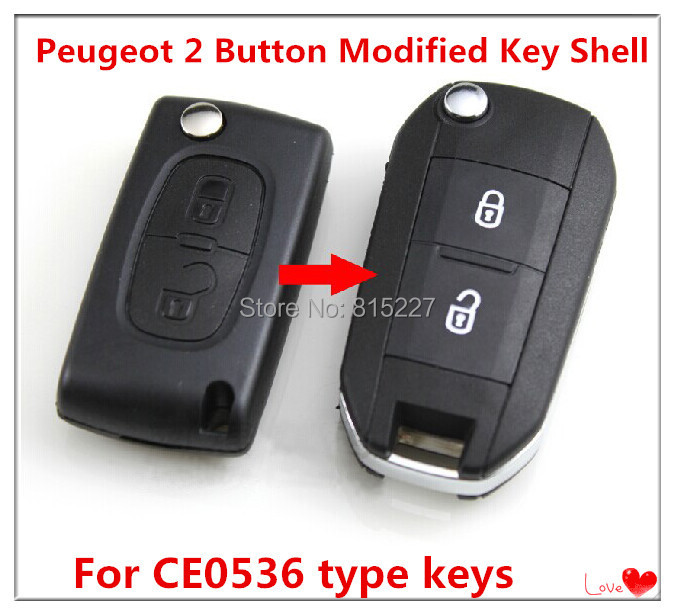 2 Buttons Modified Flip Remote Key Shell Case Peugeot 407 Groove Blade+  -  Union Tech Tool Store store