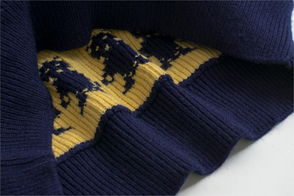 Ptetty Otoño Oscuro Cuello Puente Superior Knitwear Jacquard Mujer Divertido Retro O Preppy Sweater Señora Invierno Oso Azul Nuevo Estilo Pullover gqABTgx