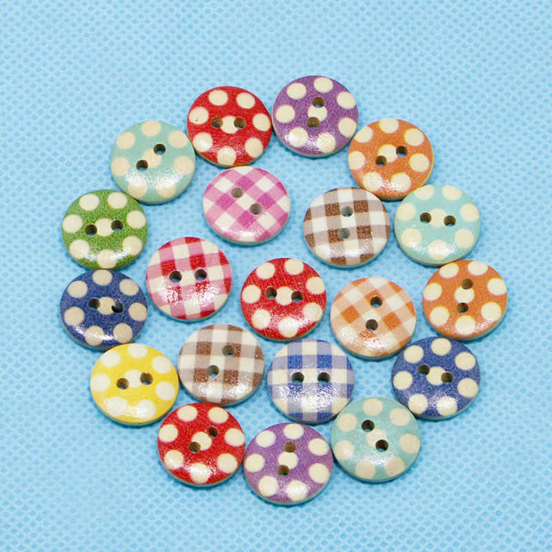 100pcs/pack Diverse Mixed 2 Holes Wooden Buttons Mixed Color Round Pattern Decorative Buttons Fit Sewing Scrapbooking Craft