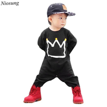 Niosung New Newborn Infant Baby Boys Girls Print Cotton Blend Romper Jumpsuit Long Sleeve Clothes Outfits Kids Clothing v