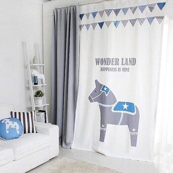 Grommet Window Draperies Curtain Nursery Kids Children Room Window Dressing Covering 145 x 180 220 240 270cm Horse White Gray