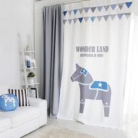 Grommet Window Draperies Curtain Nursery Kids Children Room Window Dressing Covering 145 x 180 220 240 270cm Horse White Gray