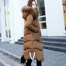 Women Hooded Fur Collar Cotton Jacket&Coat Slim Fashion Warm Down Top Coat Winter Korea Fashion Cotton Padded Outwear 3XL MY0035