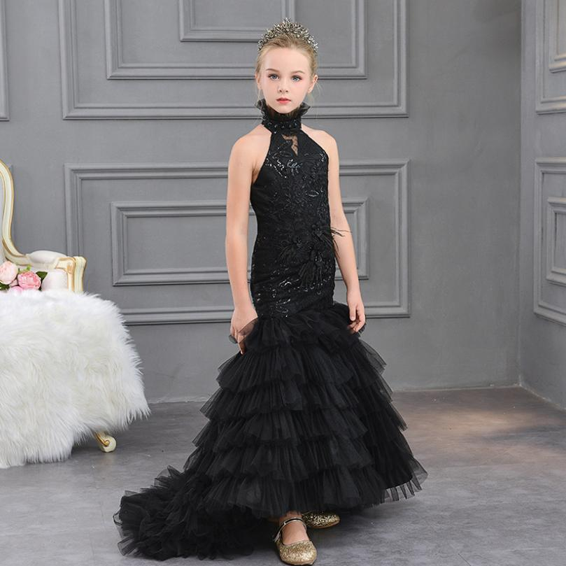 Us 67 87 44 Off Baby Girls Dress Embroidery Trailing Party Ball Gown Children Princess Wedding Mermaid Dress Teens Girls Sequins Vestidos Y611 In
