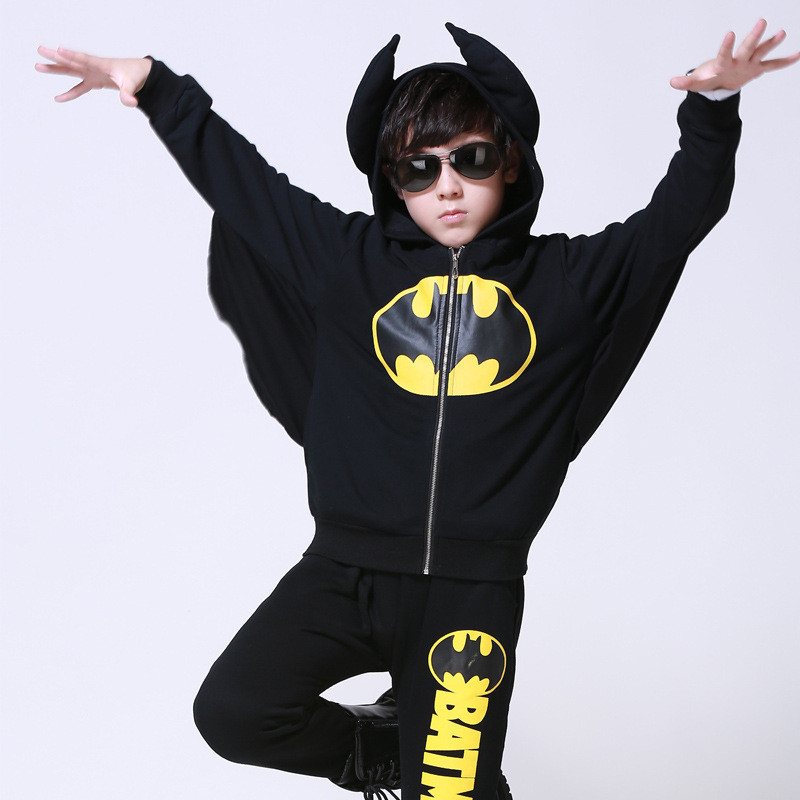 Baby Boys Clothes Set 2017 Spring Autumn Kids Clothes Boys Batman Hooded+Pants Girls Sport Suit Children Clothing Boys Sets бейсболка obey bandera snapback field camo o s