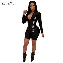 Front Zipper Sexy Black Bodysuit Casual White Letter Printed Overalls For Women High Street Full Sleeve