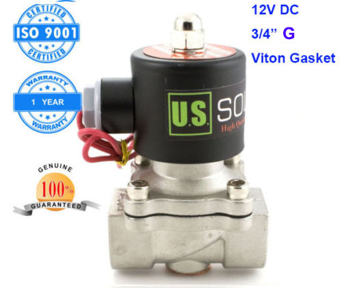 U.S. Solid 3/4 Stainless Steel  Electric Solenoid Valve 12V DC G Thread Normally Closed water, air, diesel... ISO Certified 2way2position 3 8 electric solenoid valve n c gas water air 2w160 10