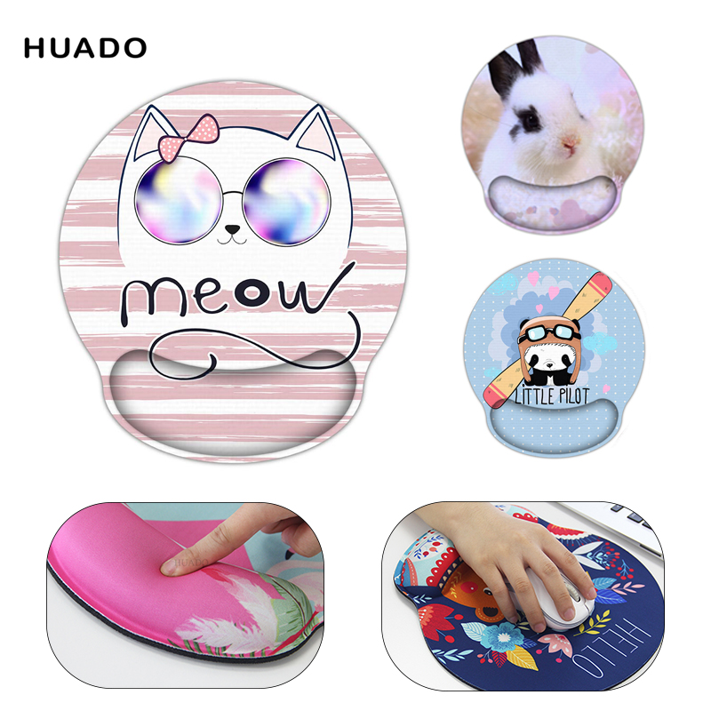 Huado Wrist Rest Ergonomic Mouse Pad Memory Cotton Computer Game Mouse Pad Wrist Hand Pad Cute Pattern Hand Support Thickening