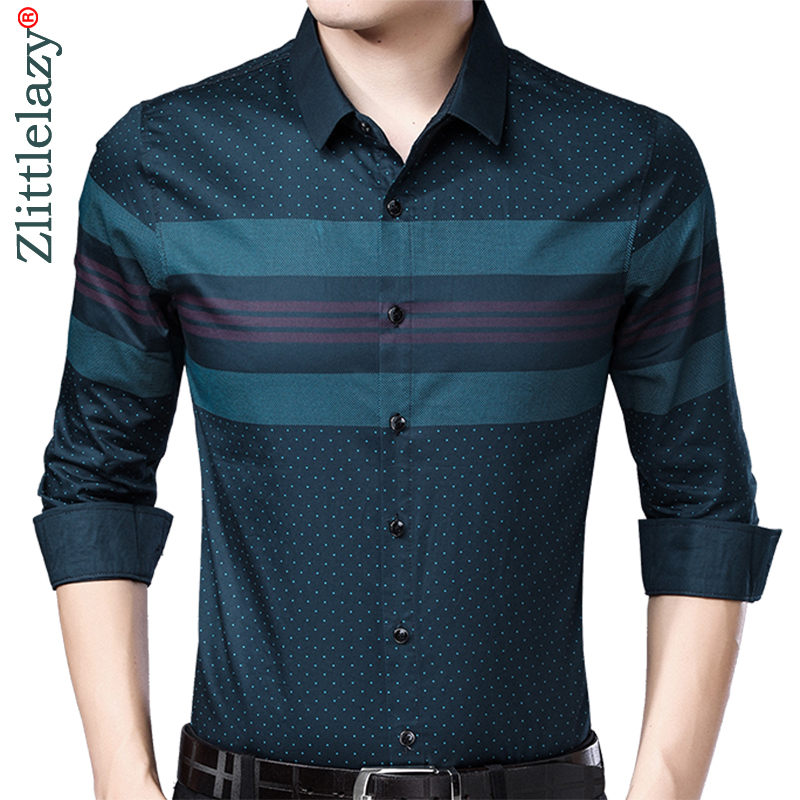 2019 Social Long Sleeve Striped Designer Shirts Men Slim Fit Vintage Fashions Men's Shirt Man Dress Jersey Casual Clothing 36780