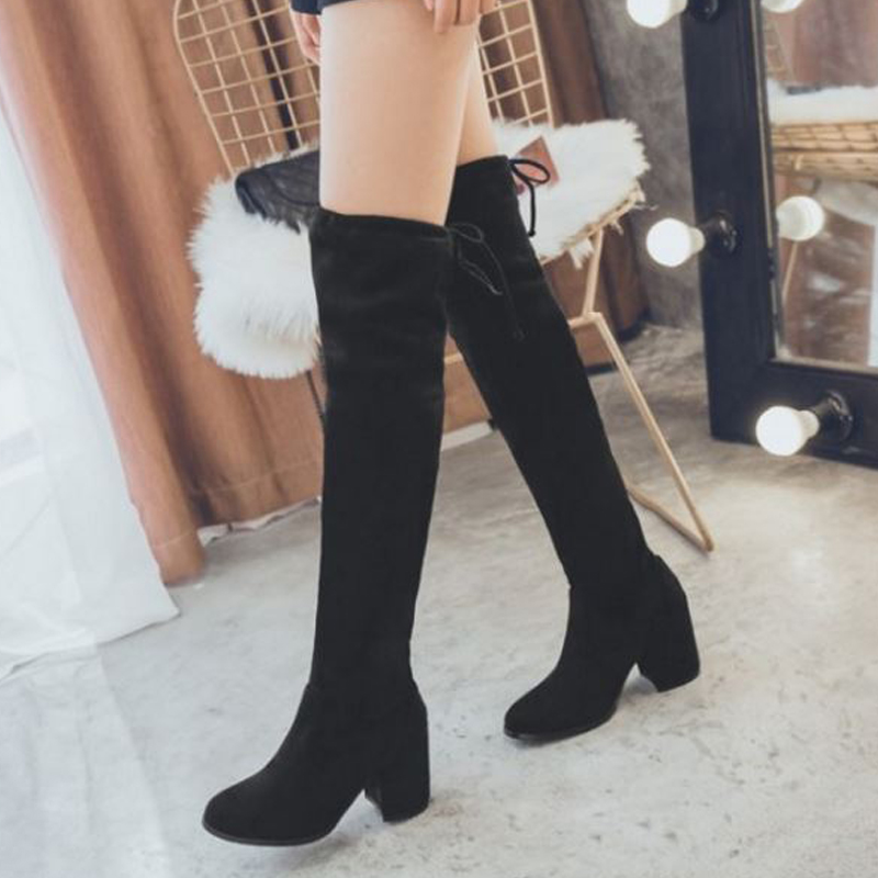 9374f2472 SJJH Women Flock Long Boots with Round Toe Chunky Black Winter Slip on  Short Plush Over the Knee Boots Fashion Casual Shoes A960-in Over-the-Knee  Boots from ...