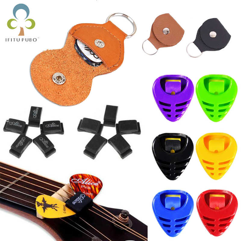 1Pc Leather/Plastic Electric Guitar Pick Holder Case Bag Random Color Guitar Parts Accessories GYH