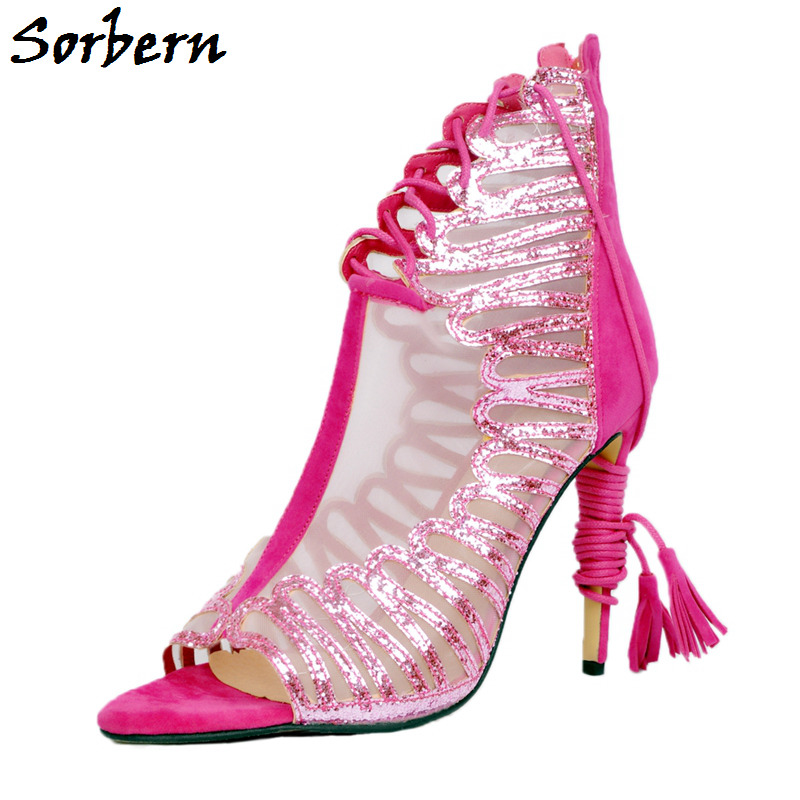Sorbern Hot Pink Shell Sequins Glitter Shoes Open Toe Ivory Mesh Lace-Up Front High Heel Pump Shoes Ladies Pink Shoes Woman