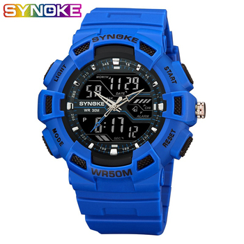 SYNOKE Fashion Outdoor Sport Men Military Watches Double Display LED Sports Watches Digital Waterproof Electronic Wristwatches