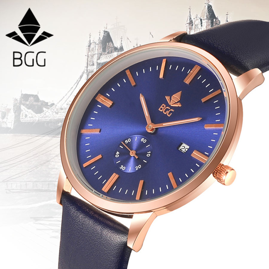 BGG Genuine Leather Auto Date Waterproof Watch Men 2017 Top New Ultra thin Fashion Simple Quartz