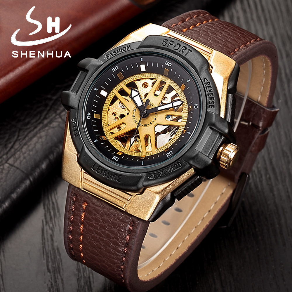 Shenhua Mens Power Skeleton Gold Automatic Mechanical Men Steampunk Watch Mens Self Winding Watches relogio automatico masculino tevise mens watches brand watch skeleton automatic self wind business mechanical steampunk wristwatch relogio masculino xmas