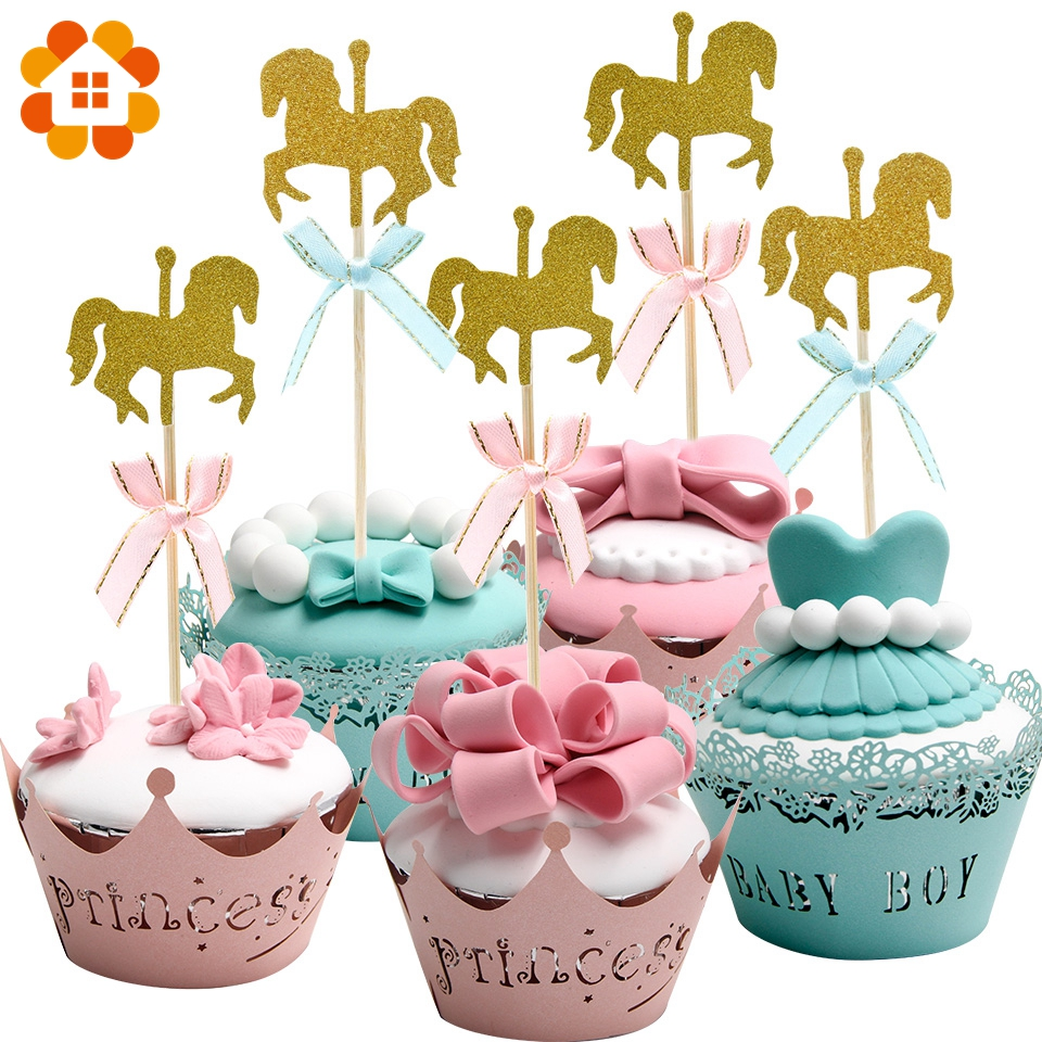 20PCS Gold Horse Birthday Wedding Cake Topper DIY Paperboard Crafts Decor For Event Wedding Birthday Party Cupcake Decorations