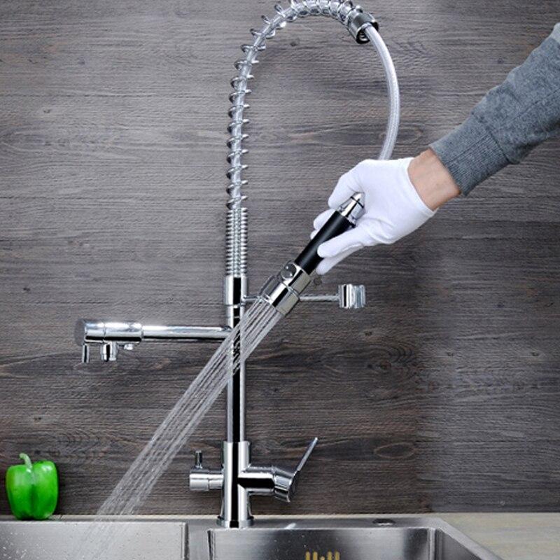 JMKWS Весна Кухня кран современные Дизайн Кухня Смесители Латунь Chrome раковина судно Нажмите 3 отверстия воды краны Outlet тянуть вниз смеситель