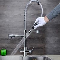 JMKWS Spring Kitchen Faucet Modern Design Kitchen Faucets Brass Chrome Sink Vessel Tap 3 Holes Water