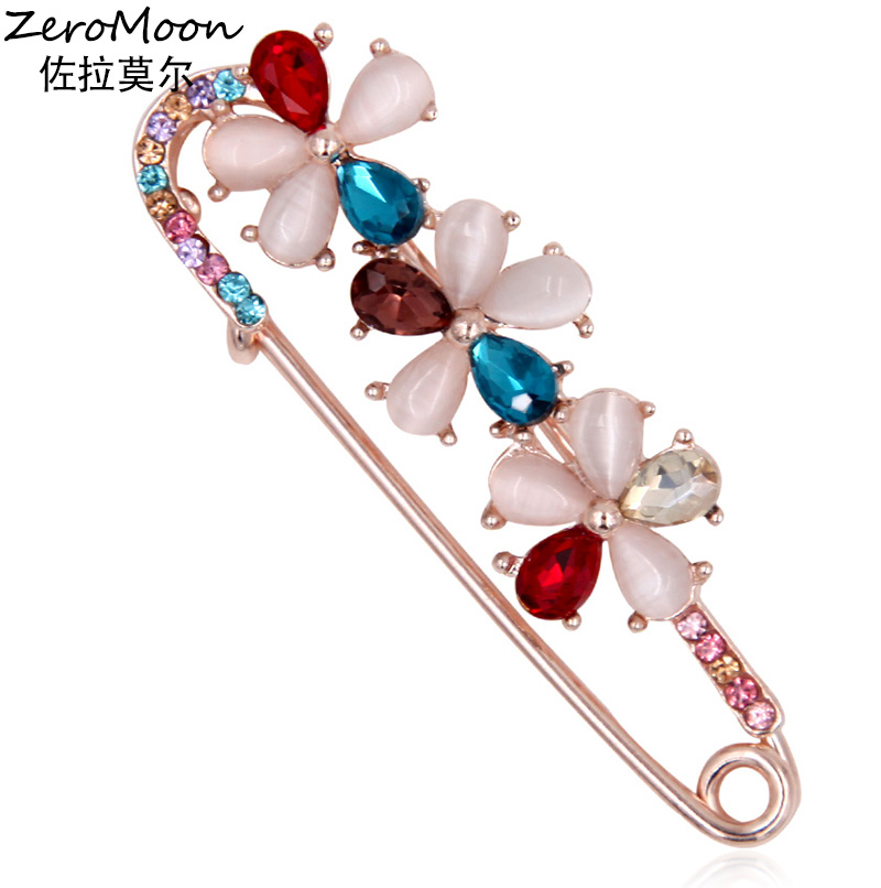 Elegance Crystal Rhinestone Opal Flower Brooch Swan Animal Safety Pin Unisex Scarf Clasp Clip Garment Accessory Fashion Jewelry
