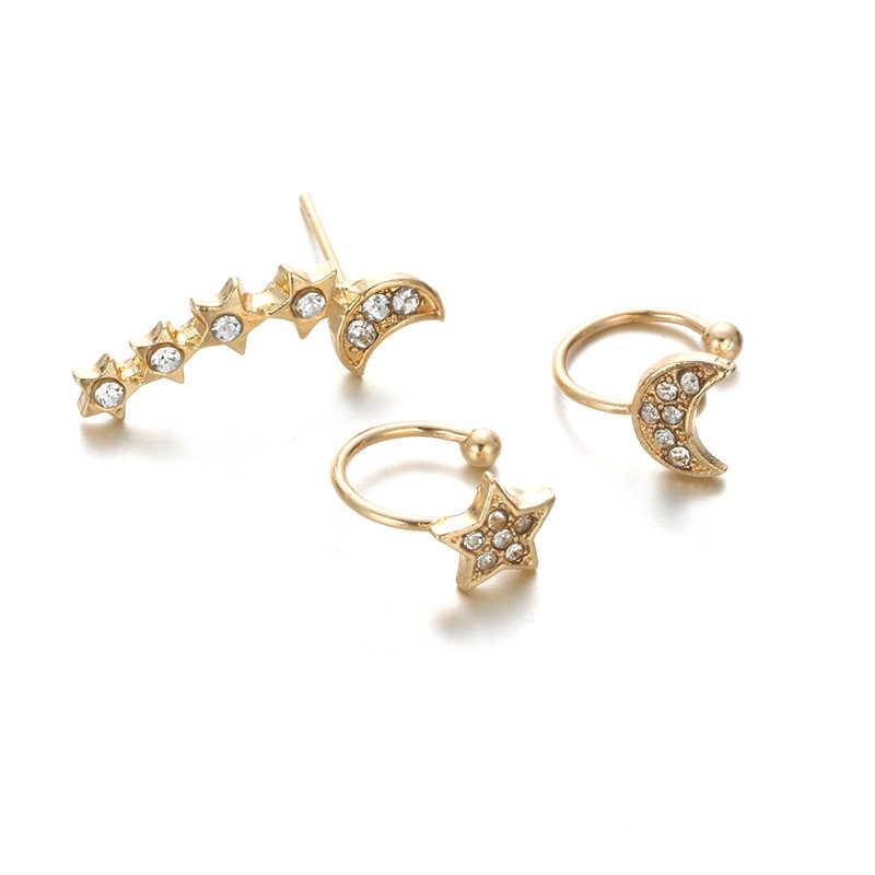 BIG J.W 3pcs/Set Gold Silver Color Moon Star Stud Earring Set for Women Bohemian Earrings Fashion Costume Jewelery Earrings