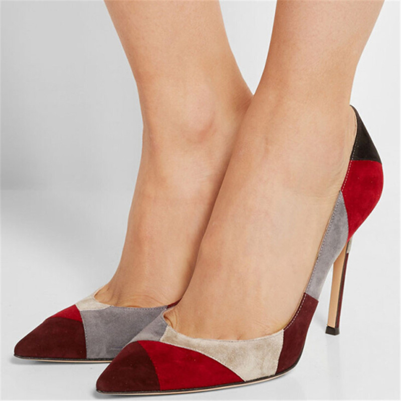 Women Pumps 2016 New Style Mixed Color Suede Patch Women Shoes Stiletto High Heels Ladies Wedding Shoes Woman Zapatos Mujer