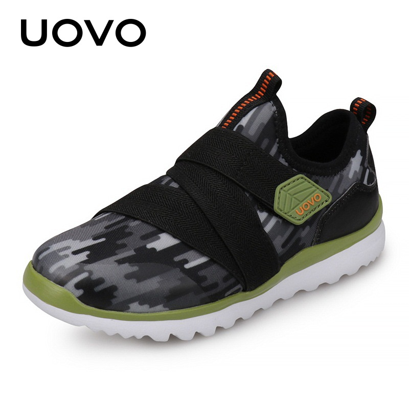 все цены на UOVO 2018 Spring New Kids Sport Shoes Boys Breathable Shoes Fashion Striped Children Canvas Shoes Girl Casual Sneakers онлайн