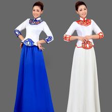 Chinese Folk Dance Costume Music Classical Chorus Dress Traditional Long Costumes Chinese Wind Dance Clothing Stage