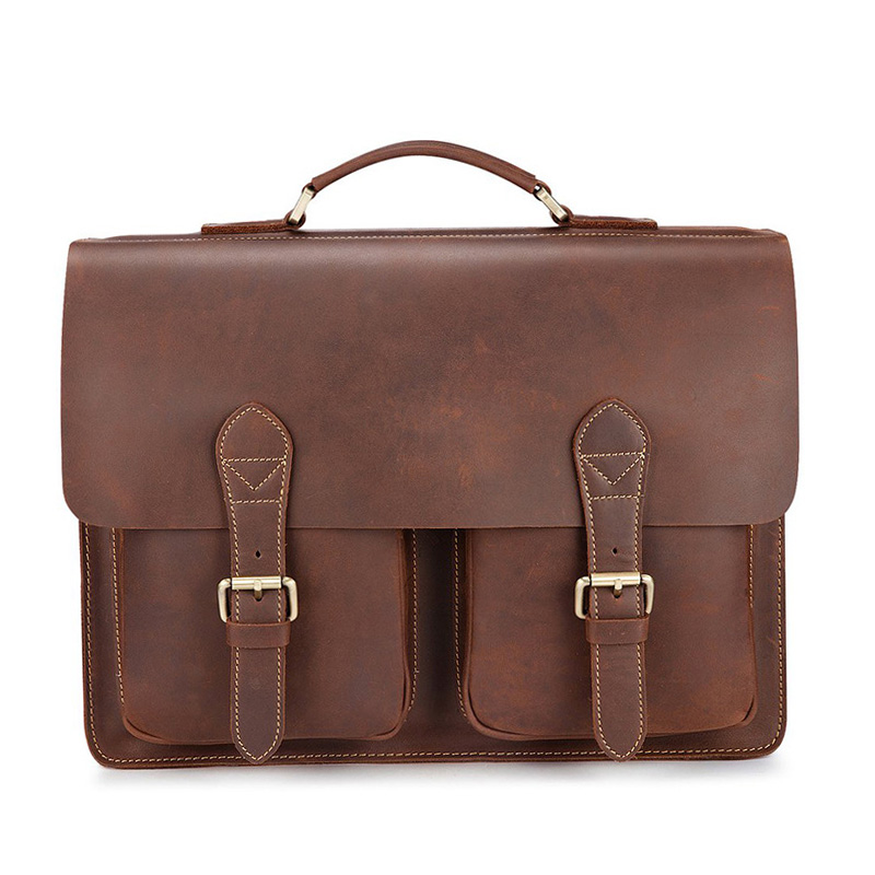 Vintage Men Shoulder Bags Cow Genuine Leather Men's Briefcase Anti Theft Laptop Handbag Crazy Horse Messenger Crossbody Male Bag vintage genuine leather men briefcase bag business men s laptop notebook high quality crazy horse leather handbag shoulder bags