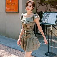 New Korean Cloak Sleeves Slash Neck Armygreen Women Dress Short Lace Hollow Fitted Dresses Sexy Club Wear Retro Woman's Clothes