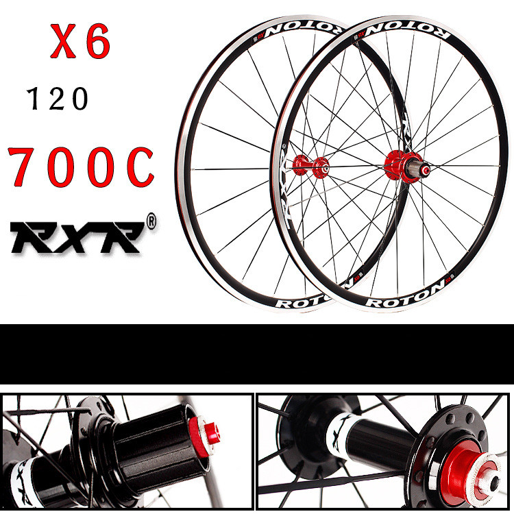 2018 High Quality HOT sale front 2 rear 5 bearing V brake Road Bike 700C wheel group Bicycle Wheelset Bike Rims 1set front and rear 700c road bike wheel bicycle magnesium alloy three spokes parts integrated wheel fixed gear single speed