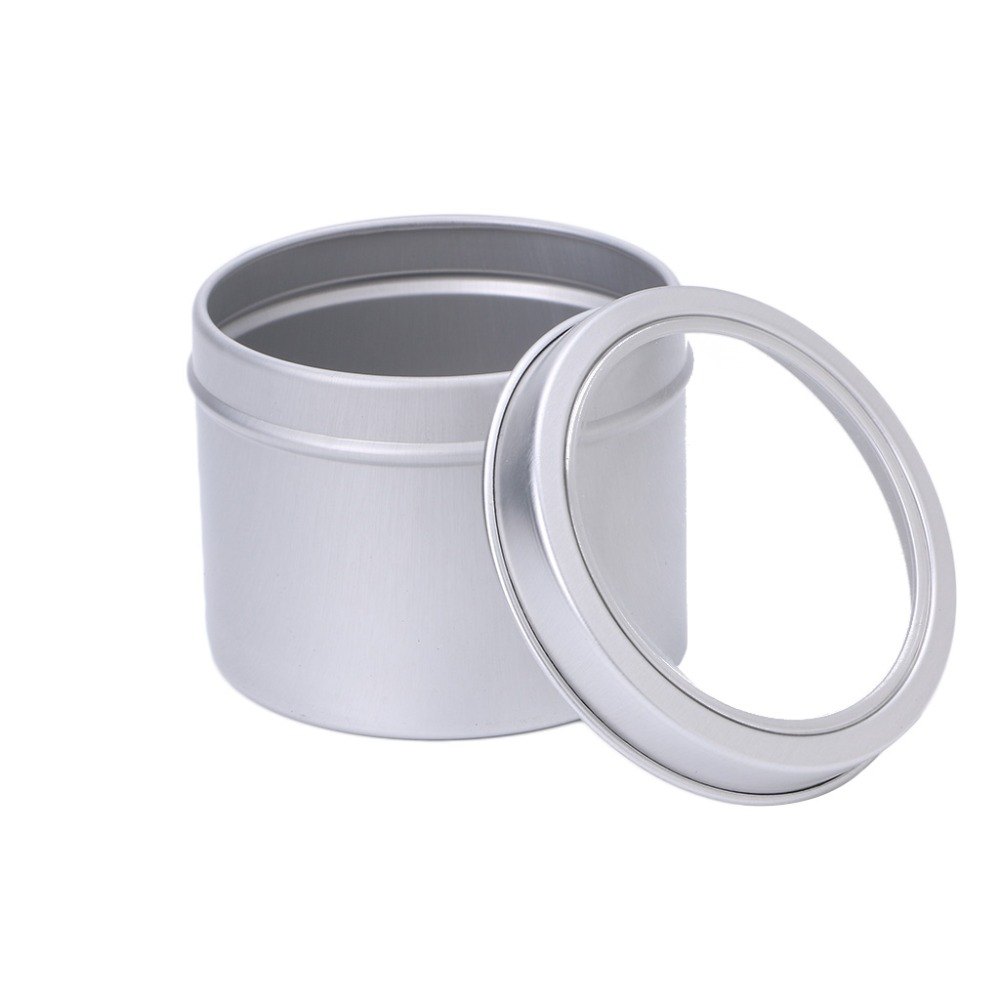 Empty Aluminium Cosmetic Pots Container Jar Tins Clear Top View Window 100ml