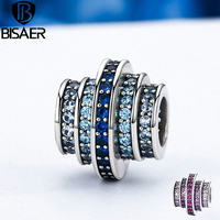 Authentic 925 Sterling Silver Music Melody Round Blue CZ Crystal Charms Fit Pandora Charms Silver 925