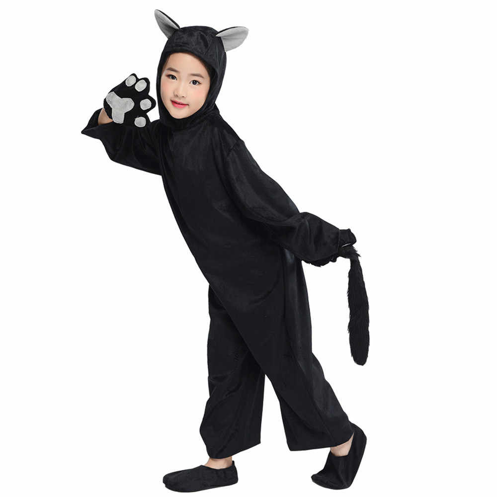 ... Kids Black Cat Costume Little Kitten Cosplay Costume Animal Onesie Fancy  Dress Jumpsuit with Headwear Paws ... c5304669ab72