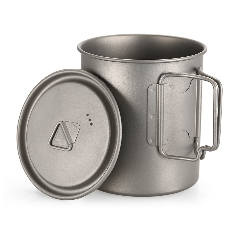 TOMSHOO 750ml Ultralight Titanium Cup Cookware Outdoor Portable Water Cup Mug Tableware Cooking Pot Titanium Pot Camping Picnic in Outdoor Tablewares from Sports Entertainment