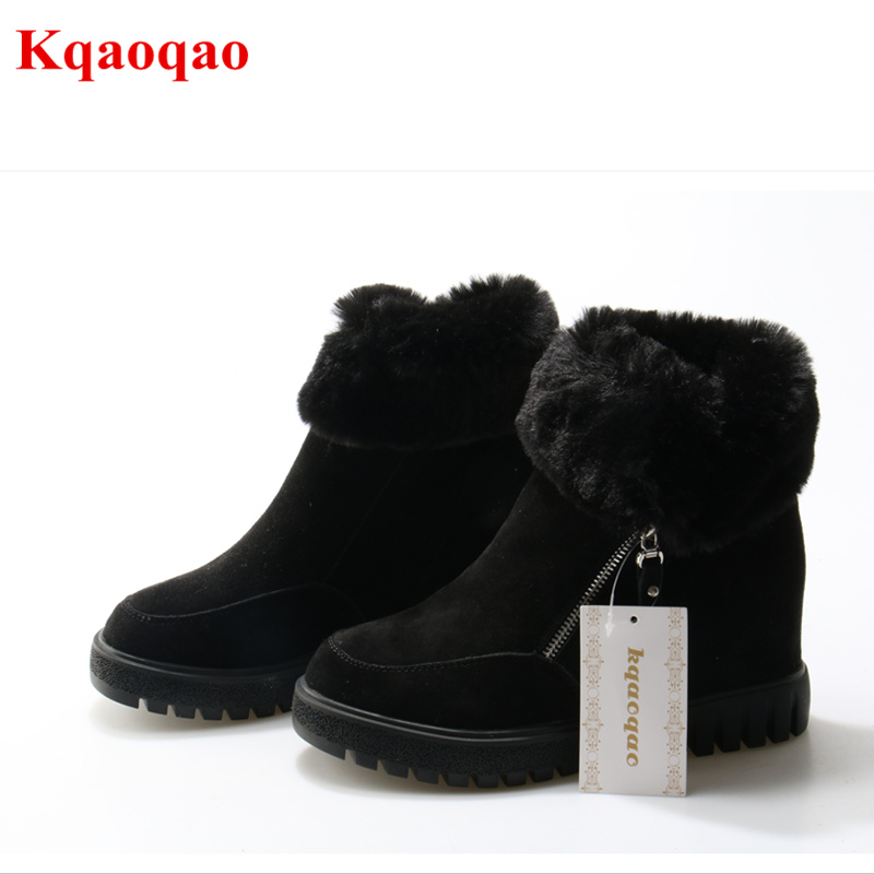 Brand Round Toe Women Snow Boots Fur Decor Short Booties Side Zip Design Women Winter Warm Shoes Height Increasing Flock Shoe