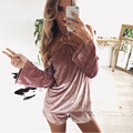 Outono EuropeanStyle Veludo Playsuit Rompers Jumpsuit Womens Halter Off The Shoulder Solto Rosa Mulheres Two Piece Outfits Clubwear