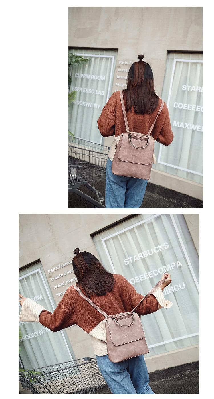 HTB1AzyqS6TpK1RjSZKPq6y3UpXal Fashion Women Backpack Pu leather travel bagpack large School Shoulder Bags For Teenager Girls mochila feminina 2019 Quality