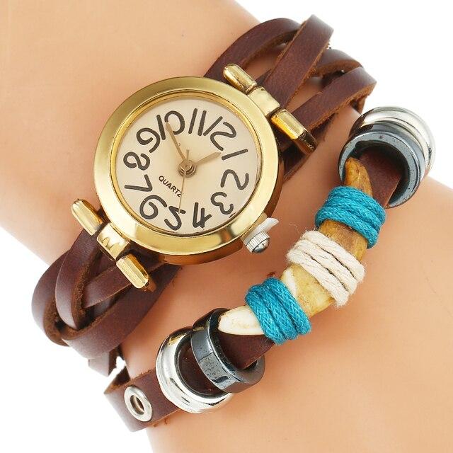 Gnova Top Women Man Premium Genuine Leather Spike Watch Triple Bracelet Watch Ir