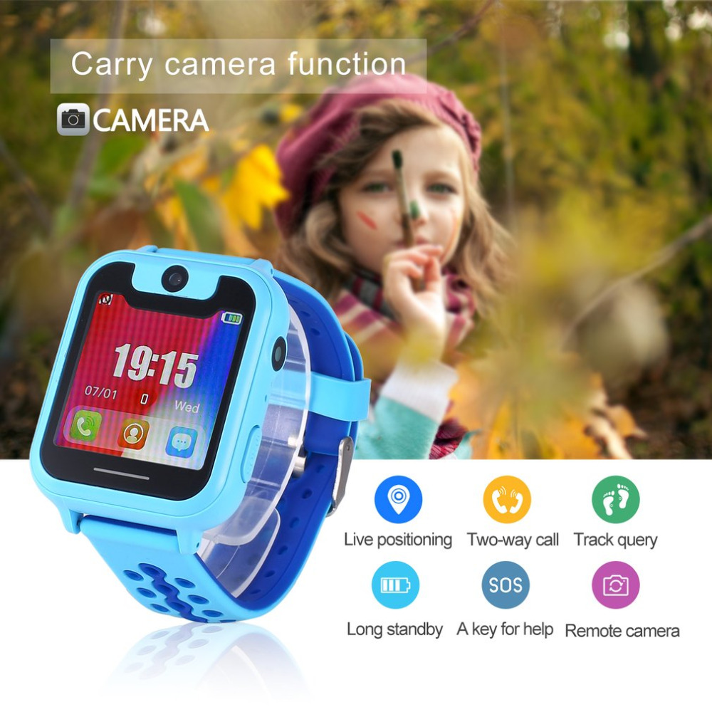 цена Cute Children Smart Watch Support Phone SOS GSM GPRS SMS SIM Camera Route Track Playback 1.54 Inch Touch Full Color LED Screen