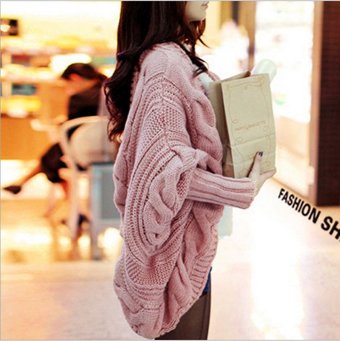 Spring Autumn 9Colors Coarse Wool Cardigans Women Brand Fashion Full Batwing Sleeve Sweaters Casual Women Clothing