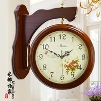 Meijswxj Saat Double sided Wall Clock Reloj Wood Digital Clock Relogio de parede Duvar Saati Horloge Murale Mute watch clocks