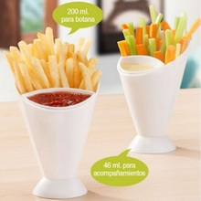 2in1 Plastic French Fry Cone With Dipping Cup Salad Cup Holder Snack Cone Stand Cooking Tools Kitchen Potato Tool Tableware
